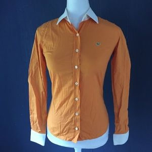 Lacoste Orange Button Up Top Shirt Long Sleeve 34